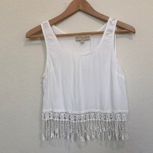 Dance & Marvel fringe white crop too tank M